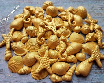 45 Edible sugar cake decorations shells sea horse stars cake cupcake toppers GOLD