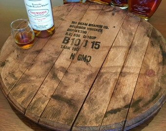 Bourbon Barrel Head Lazy Susan, Barrel Top, Serving Tray, Makers Mark, Jim Beam,  Bourbon, Gift for him, dad husband groomsman