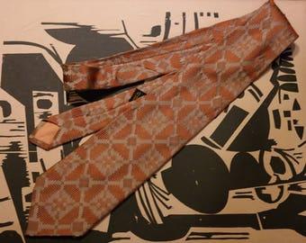 Vintage 1960s  Neck Tie Burnt Orange and Grey Texturized Geometric Pattern - Wide Tie-