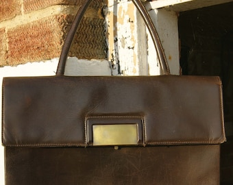 1950's Brown Leather Folio Bag
