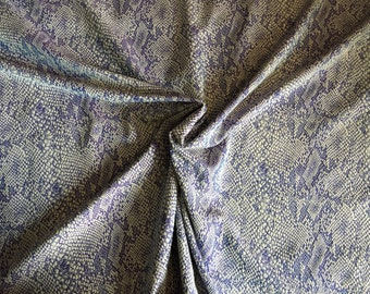 Blue and White Snake Pattern Jacquard with stretch, made in France, sold by the yard, 57 inches wide