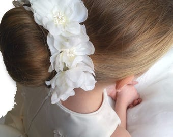 Flower Girl or Bridesmaid Bun Holder with Organza Flowers and Pearls
