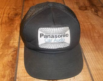 Panasonic Car Audio Trucker Cap, Mesh Snapback Hat, Patch, snap back baseball, Hipster, Car Stereo System, , Pioneer, Cassette Deck