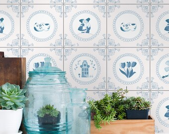 Delft Tiles - Wall Tiles - Floor Tiles - Tile Decals - Flooring - Tile Stickers - Vinyl floor - bathroom- kitchen- PACK 24 - SKU:DELFT