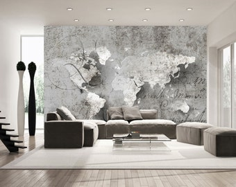 World Map Decal Etsy - 3d effect wall decals