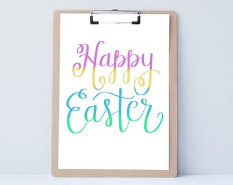 Hoppy Easter fun funny Hand lettered home wall art, print, typography husband gift, holiday present, bedroom home decor quote, Easter card,