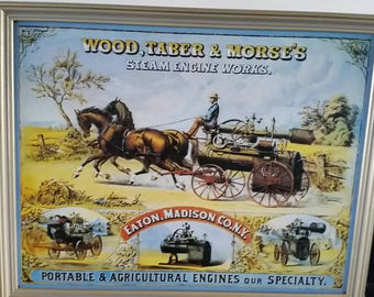 Wood Taber and Morse metal framed steam engine advertising  picture
