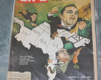 Vintage Life Magazine 1968, Wallace-Coming on Fast, The Spoiler From The South, Sealed in Plastic, Smoke Free House, Nixon and Reagan