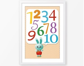 Kids poster,counting one to ten poster,nursery poster,children wall art,kids room decor,neutral gender,nursery decor,baby poster,numbers