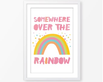 Nursery poster,somewhere over the rainbow poster,kids poster,kids room decor,baby girl poster,printable poster,scandinavian style,rainbow