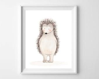 Woodland Hedgehog Nursery Wall Art,Woodland Animal Children Art,Woodland Nursery Decor,Hedgehog Kids,Woodland Baby Art,Woodland Children Art