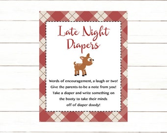 Deer Diaper Thoughts Sign Printable, Red Plaid Late Night Diapers Sign, Diaper Doody Sign,  Instant Download Printable, JPEG PDF Printable