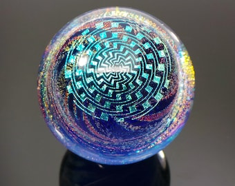 41mm Double Op Art Spiral Geometry over Dichroic Swirl Borosilicate Glass Lampworked Marble