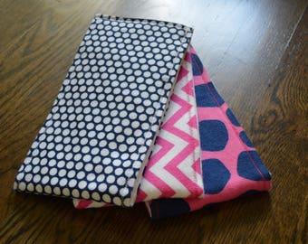 Burp Cloths-Set of 3-Pink Chevron, Navy and White Polka Dot, and Pink and Navy Giraffe