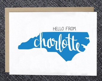 Note Card - Hello from Charlotte Note Card, Charlotte Greeting Card, Hello Charlotte, NC