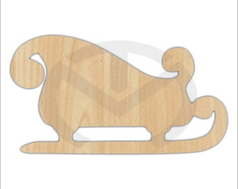 Unfinished Wood Sleigh Laser Cutout, Wreath Accent, Door Hanger, Ready to Paint & Personalize, Various Sizes