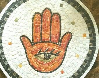 Handmade Hanging Lucky Hamsa Mosaic