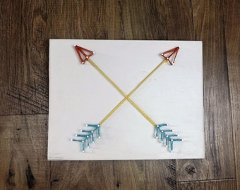 STRING ART ARROWS Wood Southwestern String Sign Wall Decor