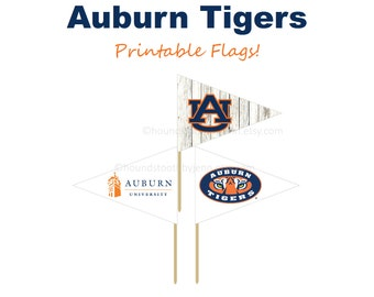 AUBURN TIGERS Flag Printables! PDF Tailgate Party Flags Dessert Flags Cupcake Toppers Party Supplies diy Decor