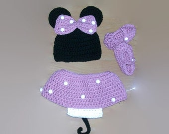 Minnie mouse costume - Infant baby prop pictures outfit - Crochet MInnie mouse - Baby crochet clothing set - Disney Prop Set - Babygirl set