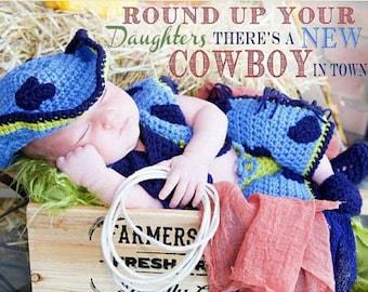 Newborn Cowboy Costume, Baby Boy Cowboy Outfit, Crochet Western Clothes, Photo Prop Western Wear, Cowboy Chaps for Baby, Infant Cowboy