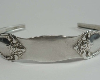 Antique Rogers Oneida Hammered Silver Plate Flatware Cuff Bracelet Size 7