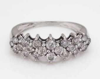 Estate 1.02ct Diamond 14K White Gold Statement Ring Size 5.5 comes with Insurance COA Papers and Box R158