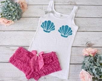 Beach Lingerie Set. Lingerie. Beach Wedding Lingerie. Shell Lingerie. Shell Shirt. Beach Pajamas. Beach Wedding Honeymoon Lingerie.