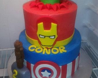 Handmade Fondant Superheros Cake topper set