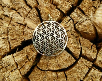 Sacred Flower of Life Pendant in Brass