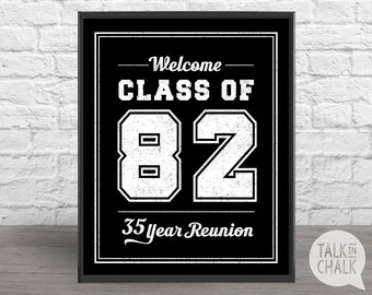 CLASS OF 1982 Printable Welcome Sign, Class of 82 Digital Welcome Poster, 35 Year Reunion Sign, 35 Year Reunion Poster, Reunion Table Sign