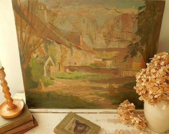 Charming vintage oil painting on canvas, country cottages