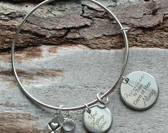 I Will Take Care of Her Always Mother of the Bride Personalized Adjustable Wire Bangle Bracelet