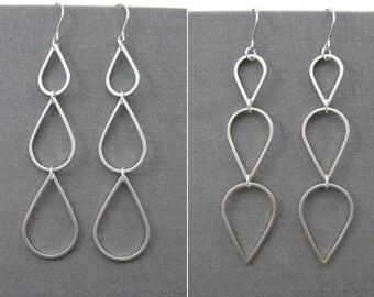 Silver Teardrop Earrings - long dangle mismatched earrings, minimalist office wear jewelry - Cascading