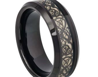 8mm Tungsten Ring Personalize Custom Engrave Tungsten Wedding Ring Celtic Wedding Ring Father S