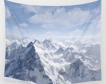 Wall Tapestry - 'Up in the Clouds' - Home Decor - Wall Decor, Modern, Home Warming, Gift, Snow, Bohemian, Boho, Scenery, Nature, Mountain
