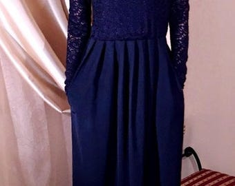 Maxi Evening Women Navy Blue Top Lace Dress Round Neck V Back Long Sleeves Pockets Sash