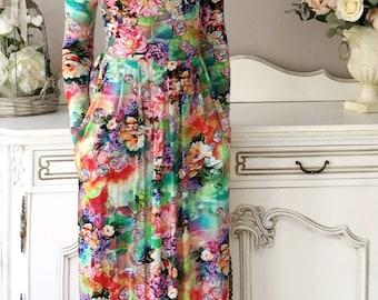 Floral Maxi  Dress Long Sleeves Pockets