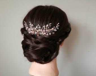 Pink wedding hair comb, wedding hair piece, blush pink hair comb, bridal hair piece, flower hair comb, pearl hair comb, rhinestone hair comb