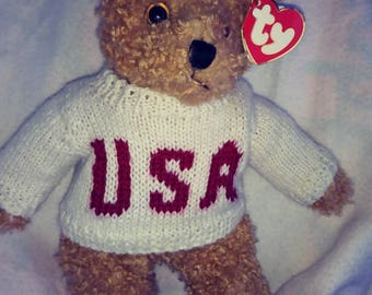 1992 TY Beanie Buddies Baby Curly in U.S.A. sweater