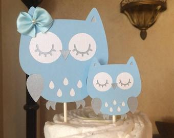 Owl cake topper/Owl baby shower cake topper/Light blue and grey owl baby shower cake topper/Boy owl baby shower cake topper