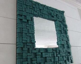 Wood Slice Sculpture - Wooden Mirror - Teal Wall Sculpture - Wood Wall Mirror - Wood Wall Hanging - Teal Wall Mirror