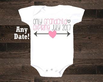 Only Grandchild expiring one piece bodysuit shirt tshirt baby announcement cousin girl niece granddaughter pregnancy im pregnant