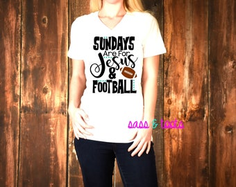 Sundays are for Jesus and Football Womens Womans V-Neck TShirt Shirt Name Custom Women Ladies Plus Size