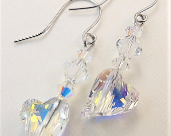Crystal Heart Earrings | Crystal Earrings | Heart Earrings | Dangle Heart | Swarovski Heart | Crystal Jewelry