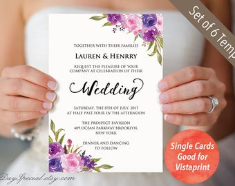 Set of 4 Double sided Lavender Invitation Templates, Purple Lilac Printable Wedding Invites Suite, Fits for Vistaprint, DIY PDF Download