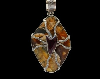 Ammolite Pendant, Ammonite Pendant, Fossil,  Pink Tourmaline Pendant, Artisan Pendant,