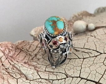 Green Turquoise Ring, Carico Turquoise Ring, Statement Ring, Handcrafted Ring, Gemstone Ring, Artisan Ring, 925 Sterling Silver Ring