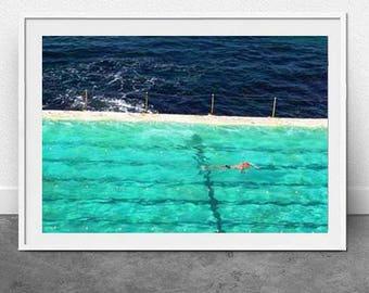 Pool, Swim, DIGITAL Download, Fine Art Photography, Printable,Nautical Print, Beach Photography, Wall Decor, Interior Art, Bondi Beach Print