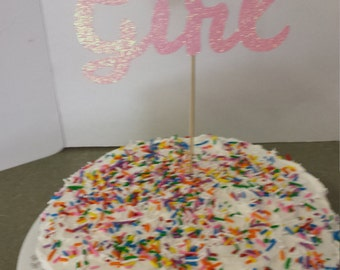 Baby Shower  Cake   Topper -- BABY GIRL -- in Glitter-choose your Color